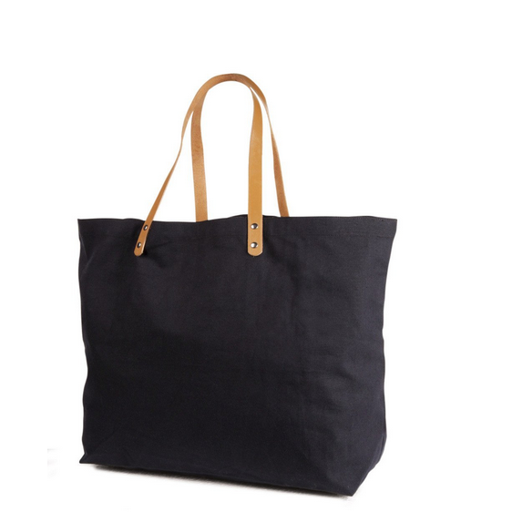 10 oz. Cotton Canvas Bag with Brown leather handles