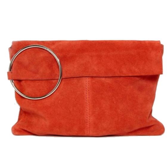 Suede Ring Grab Clutch Bag