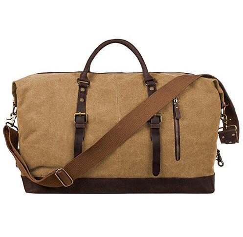 Canvas Genuine Leather Trim Travel Tote Duffel Shoulder Weekend Bag